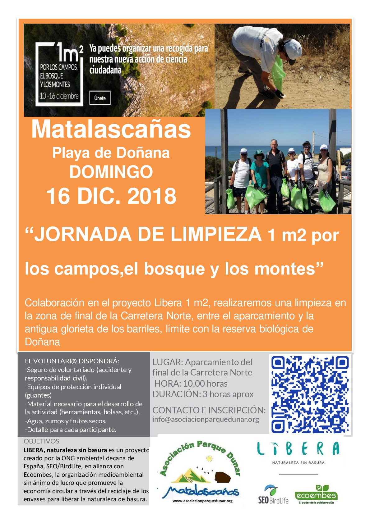 cartel jornada limpieza 16 diciembre 2018